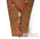a mode coral Y shaped necklace Y collier de corail en forme