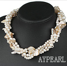 Wholesale 19 inches four strands white pearl and shell necklace with moonlight clasp