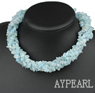 Beautiful Multi Function Long Style Aquamarine Chips Strand Necklace, Sweater Necklace