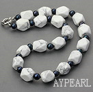 Wholesale 19 inches black pearl and howlite necklace with moonlight clasp
