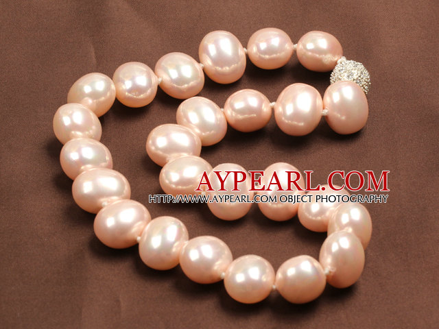 Chunky Big Potato Shape Pink Color Sea Shell Beads Necklace with Magnetic Clasp