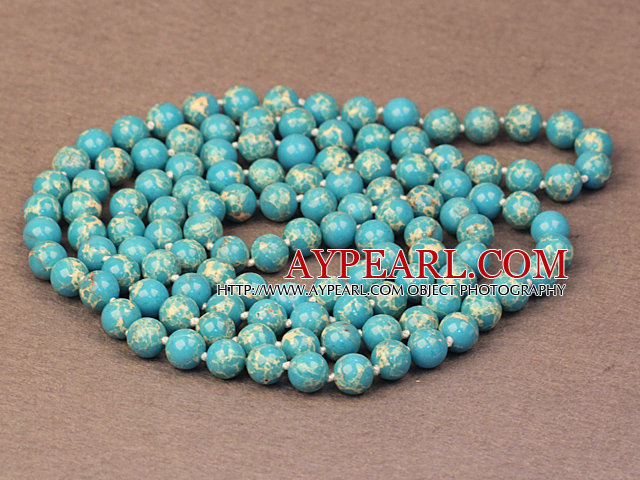 Noble Long Style Natural Blue Imperial Jasper Stone Beads Necklace