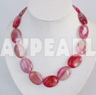 17.5 inches 18*25mm pink agate necklace with moonlight clasp
