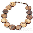 Wholesale 17.5 inches brown pearl shell necklace with lobster clasp