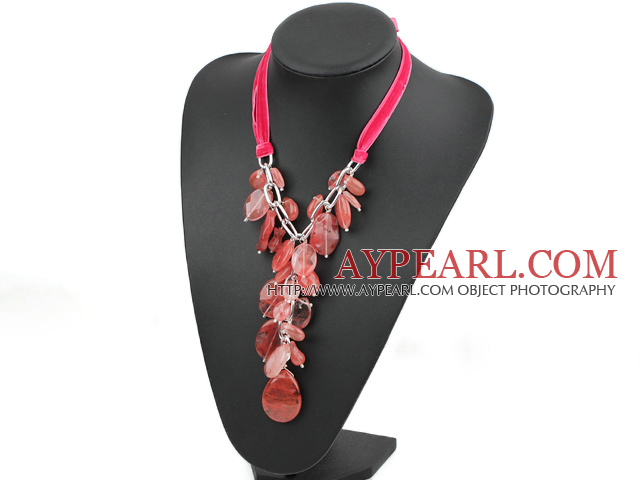23.6 inches cherry quartze necklace with ribbon