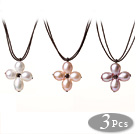 Lovely New Arrival 3 pcs Natural Freshwater Cross Pearl Leather Pendant Necklace