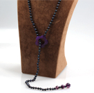 Wholesale Long Style Black Freshwater Pearl and Purple Agate Y Shape Lariat Necklace