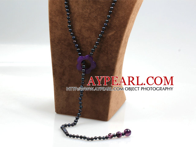 Long Style Black Freshwater Pearl and Purple Agate Y Shape Lariat Necklace