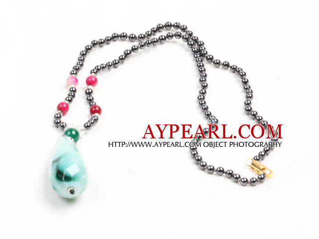 Classic Design Tungsten Steel Stone Beads Colorful Jade Agate Pendant Necklace