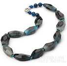 Single Strand Incidence Angle Blue Agate Necklace with Lobster Clasp