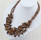 elegant dyed brown pearl and tiger's eye necklace with moonlight clasp