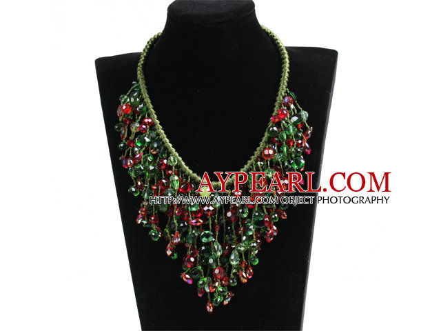 Luxurious Sparkly Red & Green Crystal Christmas Statement Tassel Green Thread Hand-Knitted Necklace