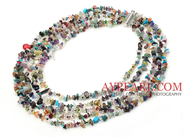 multi strand seven colored stone necklace with slide clasp