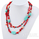 Wholesale fashion long style turquoise and red coral necklace