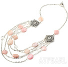 Pink Opal Necklace with Metal Chain