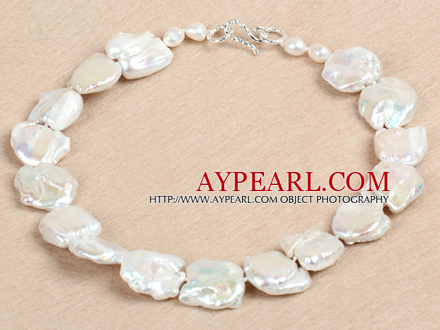 Elegant A Grade Natural White Irregular Shape Rebirth Pearl Chunky Party Necklace