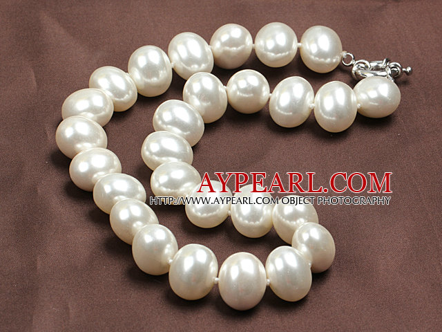 Chunky Big Potato Shape White Color Sea Shell Beads Necklace with Moonlight Clasp