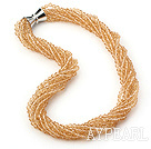 Multi Strands Golden Champagne Color Crystal Necklace with Magnetic Clasp