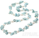 double strand natural pearl crystal and aquamarine necklace