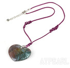 India agate heart shaped pendant necklace with lobster clasp