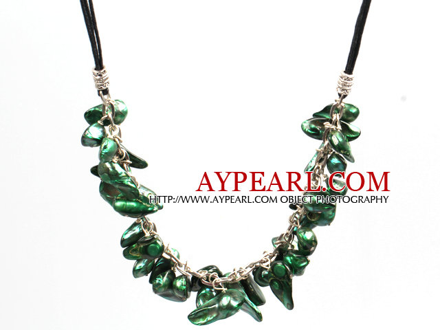 New Arrival Peacock Green Color Teeth Shape Pearl Necklace with Lobster Clasp