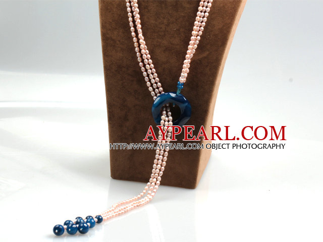 Long Style Three Strands Violet Freshwater Pearl and Blue Agate Y Shape Lariat Tassel Necklace