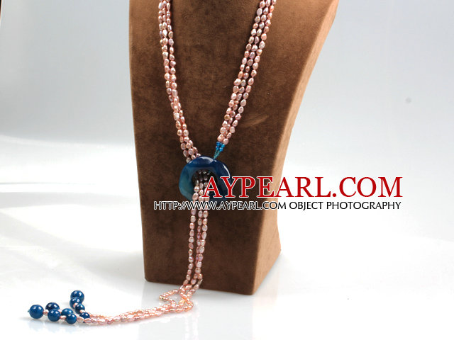 Long Style Three Strands Pink Freshwater Pearl and Blue Agate Y Shape Lariat Tassel Necklace