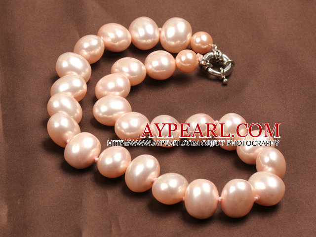 Chunky Big Potato Shape Pink Color Sea Shell Beads Necklace with Moonlight Clasp
