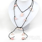 Wholesale 47 inches pearl and rose quartz long style necklace