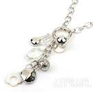 31.5 inches crystal and shell necklace with metal chain