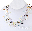 Wholesale 17.5 inches fantastic seven colored pearl necklace with lobster clasp