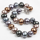 Chunky Big Potato Shape Gray Black Color Sea Shell Beads Necklace with Moonlight Clasp
