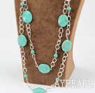 fashion long style burst pattern turquoise necklace with metal chain