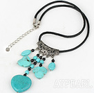 Wholesale 17.5 inches simple black agate and turquoise necklace with lobster clasp