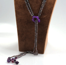 Long Style Three Strands Black Freshwater Pearl and Purple Agate Y Shape Lariat Tassel Necklace