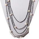 Multi Strands White Pearl and Gray Crystal Necklace