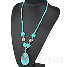 Wholesale 23.5 inches fashion turquoise necklace with lobster clasp
