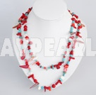 Lovely Long Style Multi Red Coral And Blue Turquoise Strand Necklace