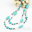 fashion long style black pearl turquoise necklace