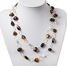 Long Style Pearl and Tiger Eye Necklace with Metal Loop Chain