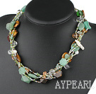 18 inches multi strand multi color stone and crystal necklace with moonlight clasp