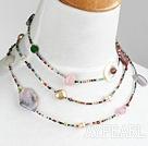 Beautiful Long Style Multi Stone Beads Strand Necklace, Sweater Necklace