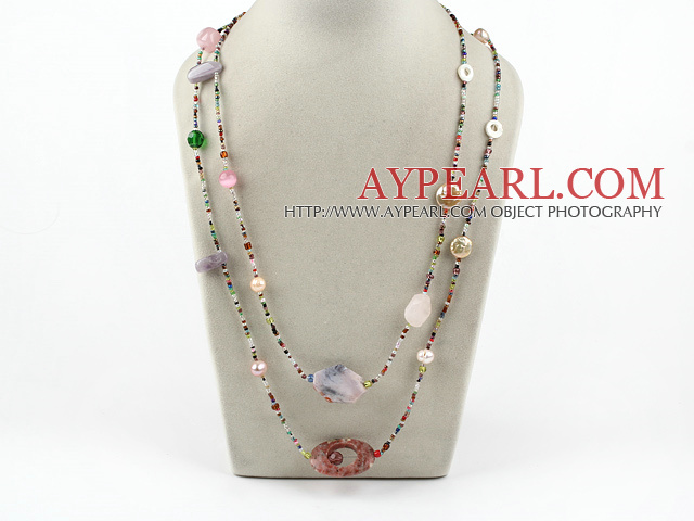 55 inches multi stone long style necklace