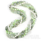 Wholesale Multi Strands Natural Prehnite and White and Light Green Freshwater Pearl Necklace