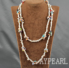 Wholesale 47 inches multi colored pearl logn style necklace