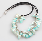 Wholesale Fashion Style Red Coral Y Shape Tassel Necklace with Turquoise Donut