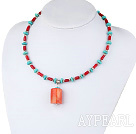 17.5 inches turquoise and red coral necklace with lobster clasp