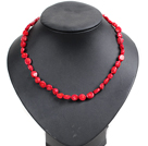 18 inches 10mm red coral necklace with toggle clasp
