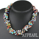 Fashion Multi Function Multi Strand Seven Colorful Chips Stone Necklace, Sweater Necklace