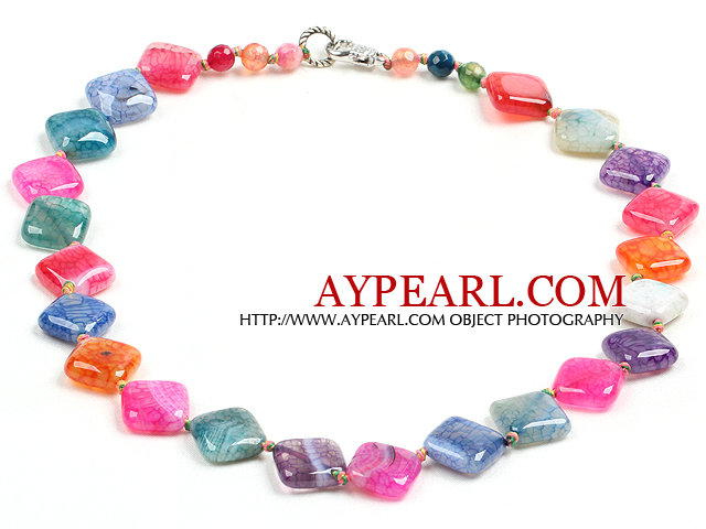 Beautiful Fashion Multi Color Rhombus Shape Fire Agate Necklace